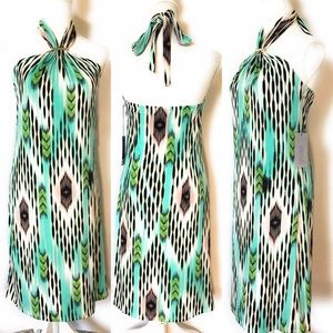 Jlo tribal halter dress, Sz Small, Multicolored